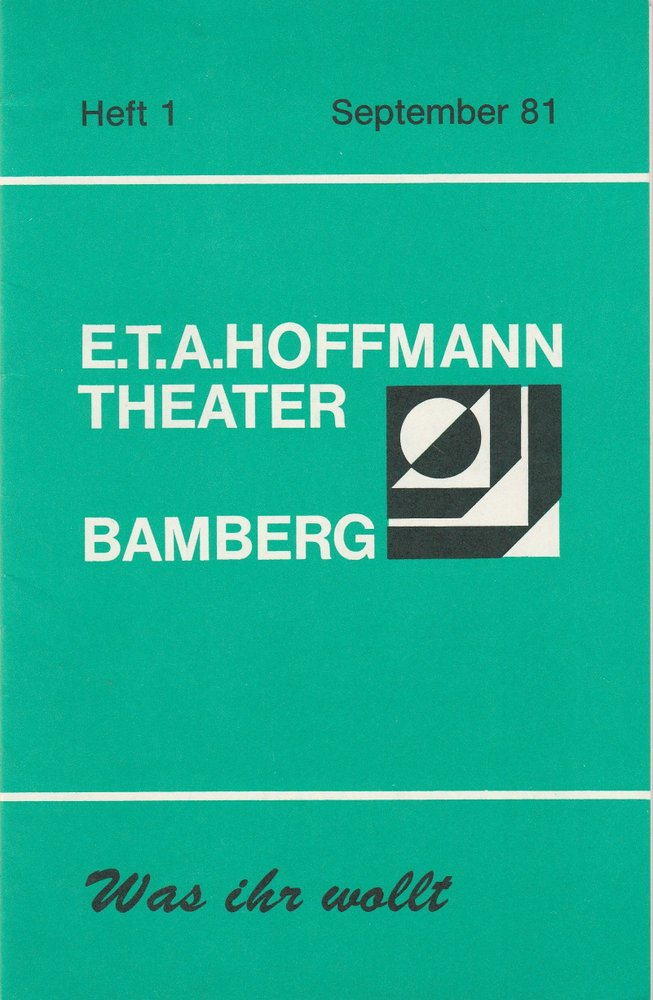 Programmheft Shakespeare WAS IHR WOLLT E.T.A. Hoffmann Theater Bamberg 1981