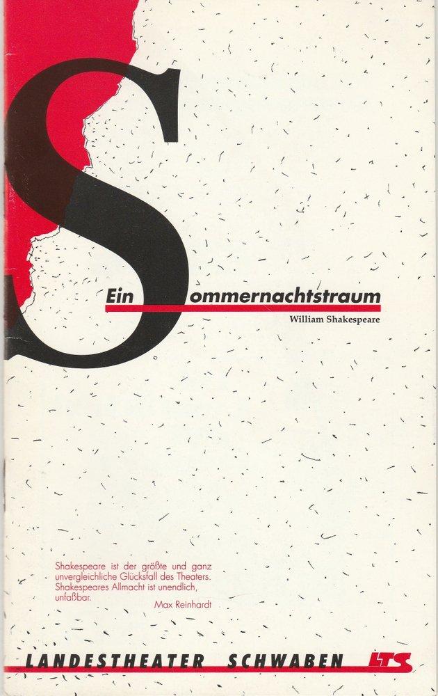 Programmheft Shakespeare Ein Sommernachtstraum Landestheater Schwaben LTS 1990