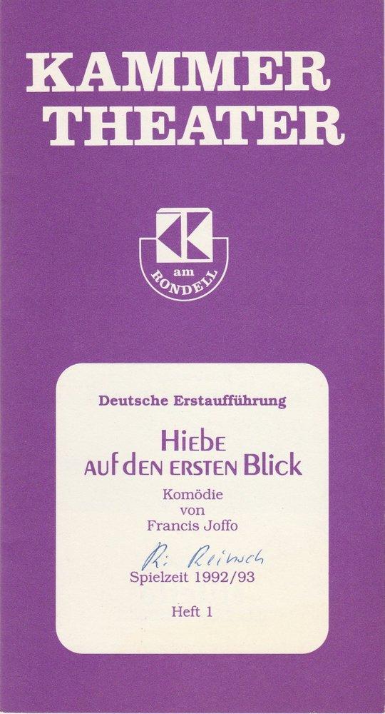 Programmheft Hiebe auf den ersten Blick von Francis Joffo Kammertheater 1992
