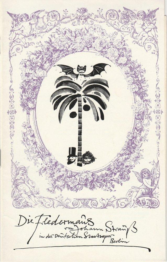 Programmheft Johann Strauss Die Fledermaus Deutsche Staatsoper Berlin DDR 1975