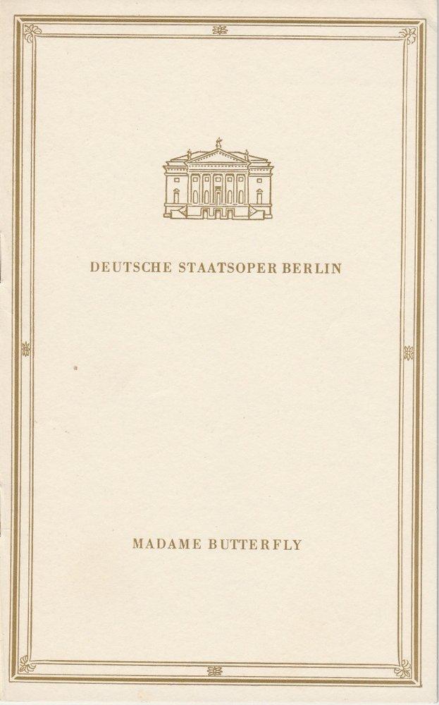 Programmheft Giacomo Puccini MADAME BUTTERFLY Deutsche Staatsoper Berlin DDR 67