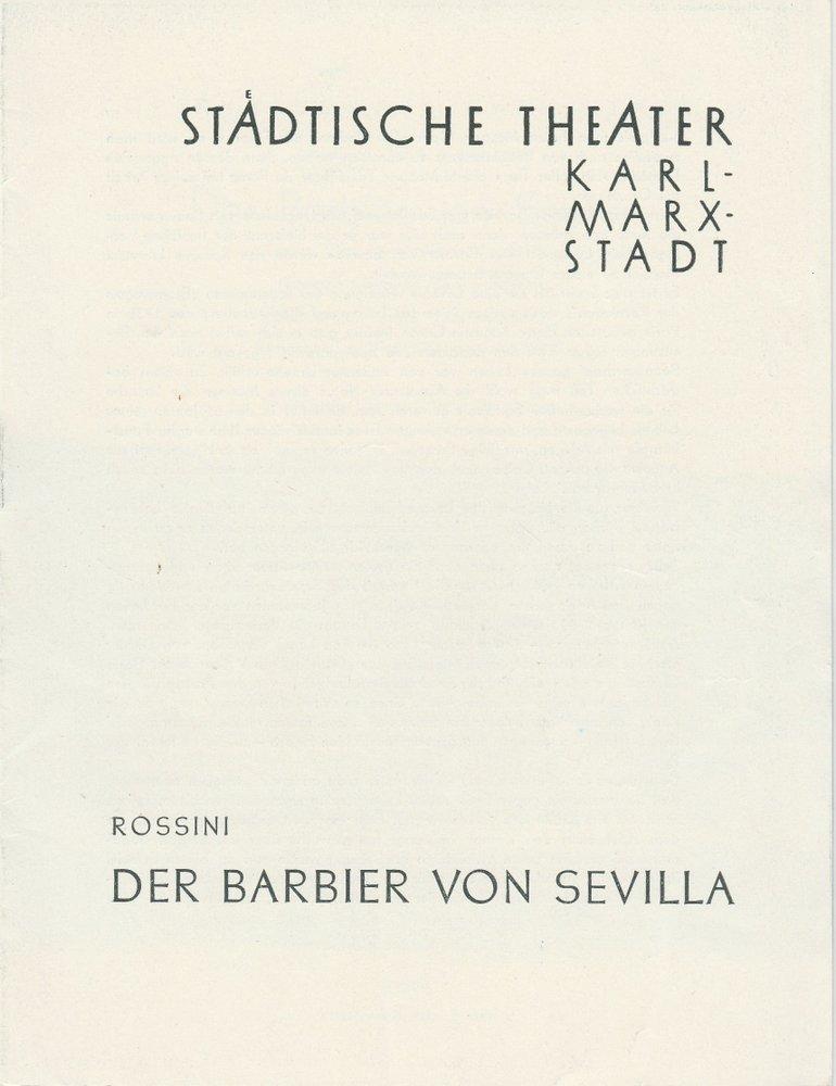 Programmheft Rossini: DER BARBIER VON SEVILLA Opernhaus Karl-Marx-Stadt 1960