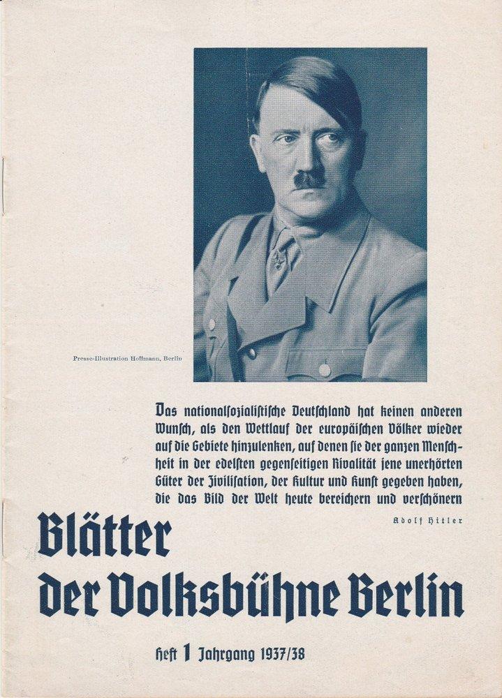 Blätter der Volksbühne Berlin Heft 1 Jahrgang 1937 / 38
