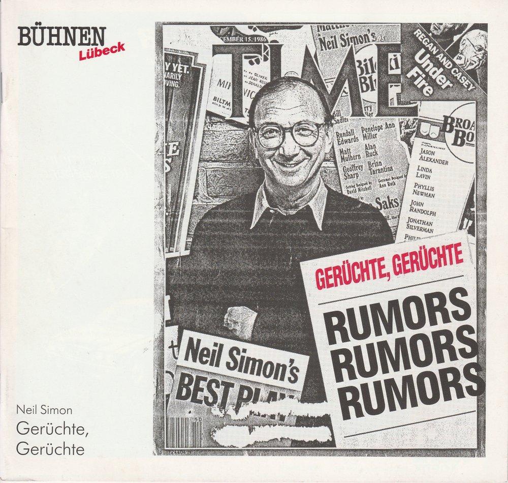 Programmheft GERÜCHTE, GERÜCHTE von Neil Simon Kammerspiele Lübeck 1990