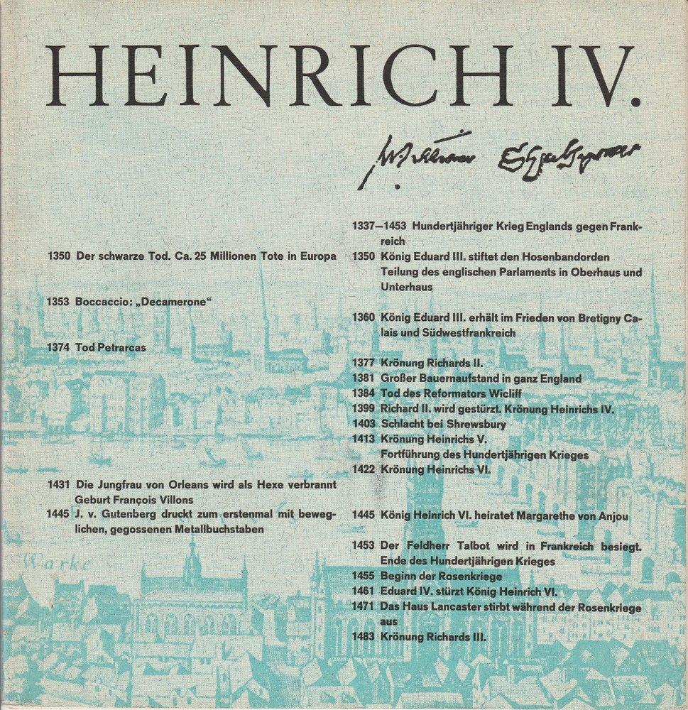 Programmheft HEINRICH IV. von William Shakespeare Staatstheater Stuttgart 1970