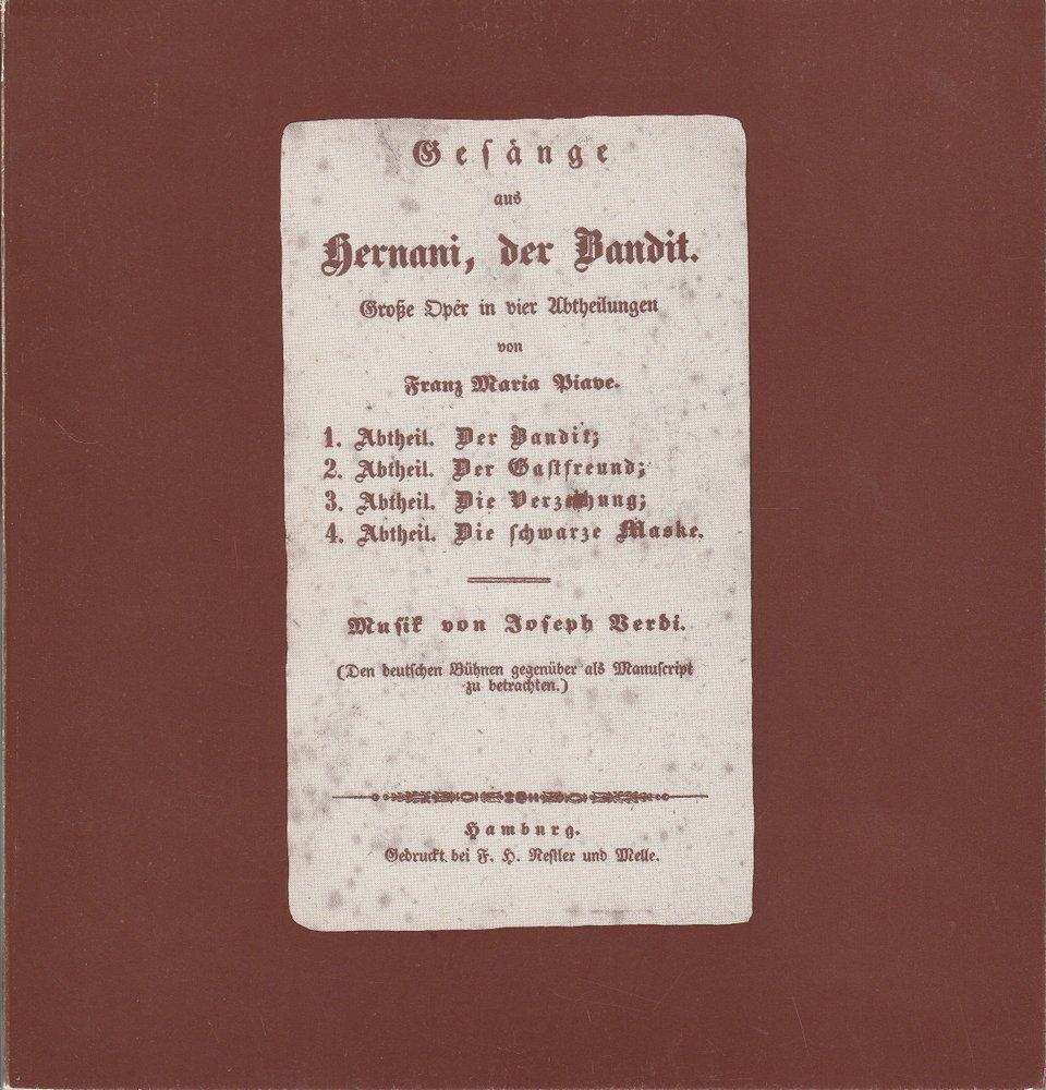 Programmheft Giuseppe Verdi: ERNANI Hamburgische Staatsoper 1980
