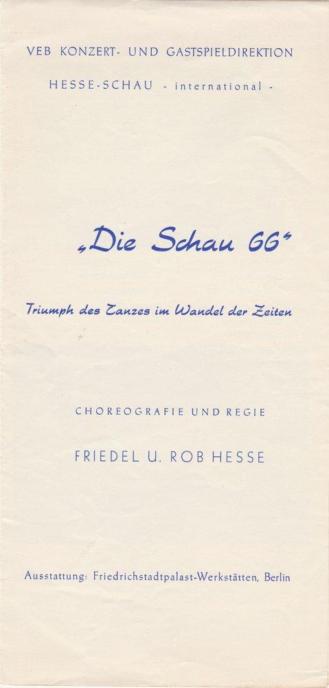 Programmheft Die Schau 66. Triumph des Tanzes im Wandel der Zeiten Hesse Schau