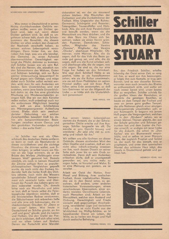 Programmheft Friedrich Schiller: MARIA STUART Deutsches Theater Berlin 1980