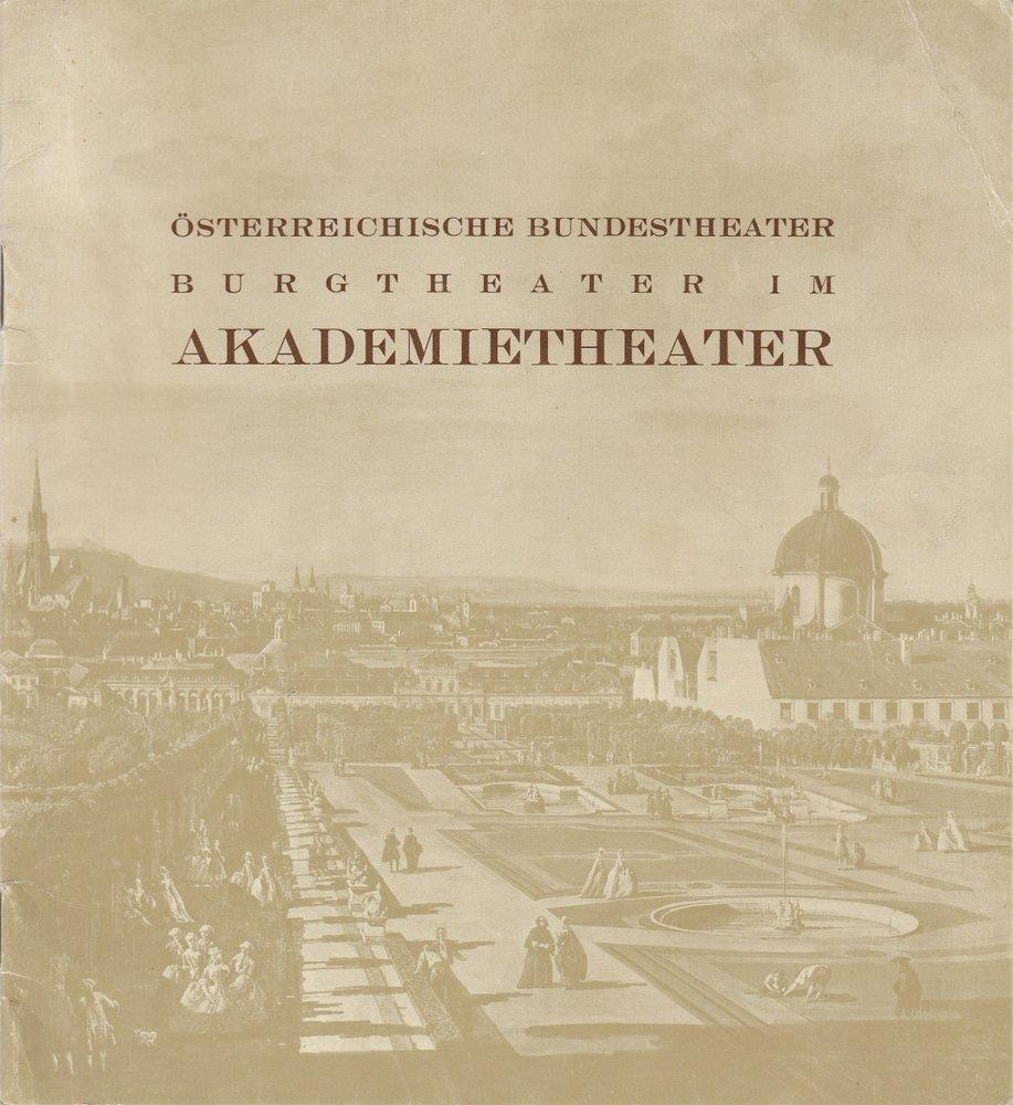 Staatsoper März 1969 Heft 1 Burgtheater im Akademietheater Spielplanheft