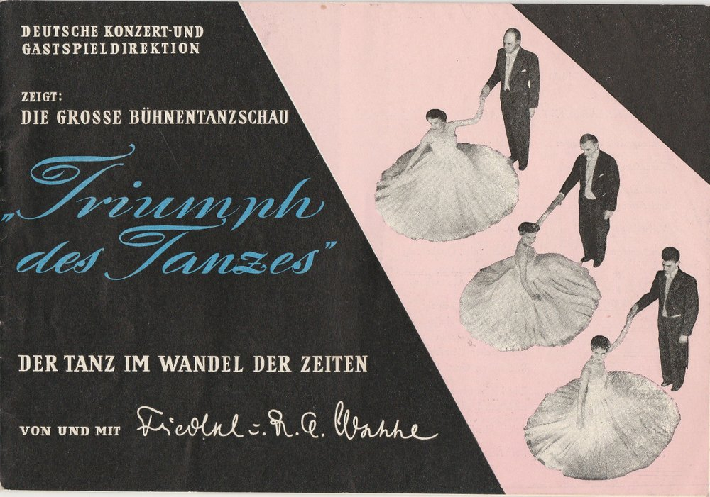 Programmheft Triumpf des Tanzes Von und mit Friedel und R. A. Hesse 1957