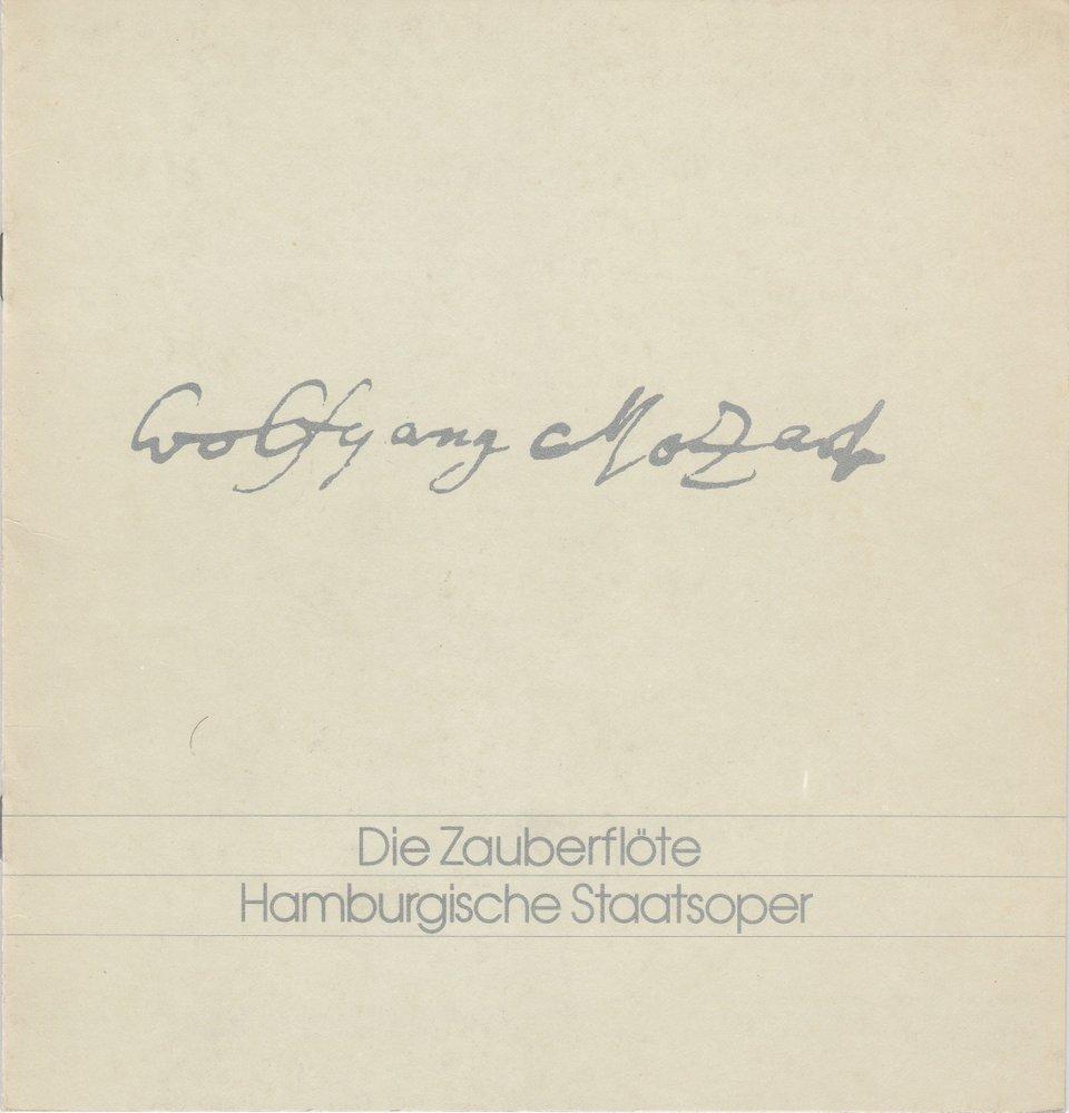 Programmheft Mozart: DIE ZAUBERFLÖTE Hamburgische Staatsoper 1978