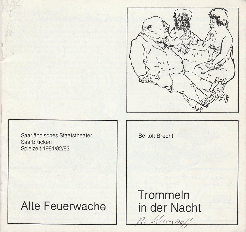 Programmheft Bertolt Brecht: TROMMELN IN DER NACHT Saarbrücken 1982