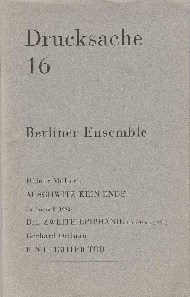 Programmheft Drucksache 16. Berliner Ensemble