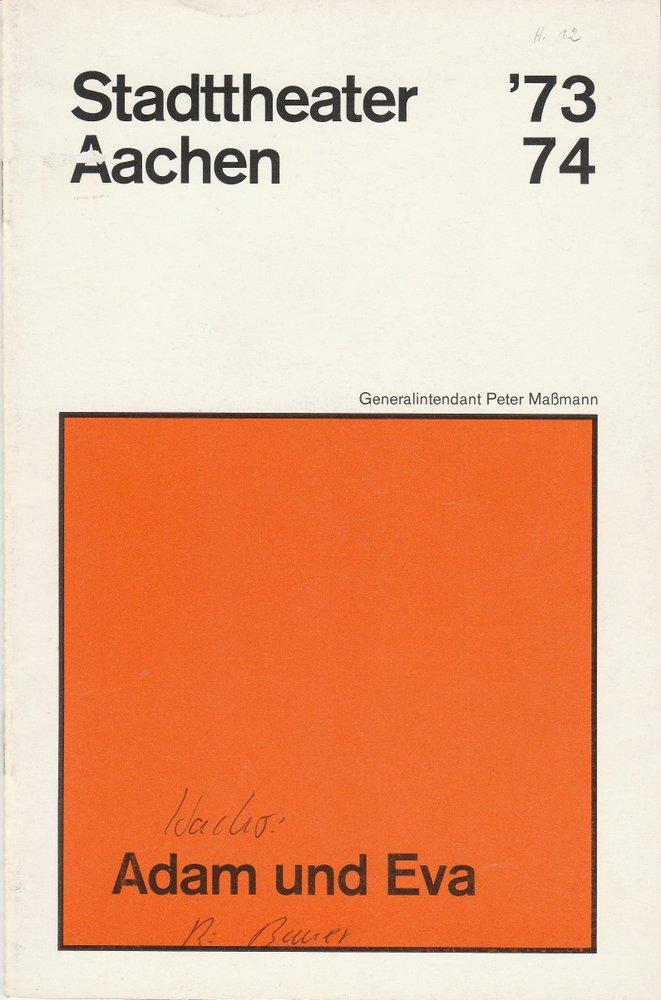 Programmheft ADAM UND EVA. Komödie von Peter Hacks Stadttheater Aachen 1974