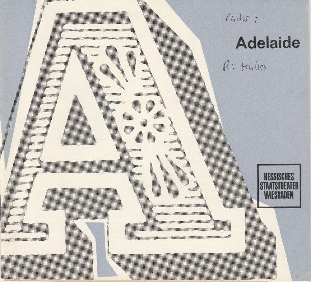 Programmheft Jean-Louis Curtis: ADELAIDE Staatstheater Wiesbaden 1963