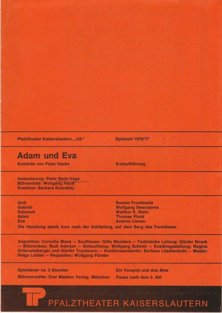 Programmheft ADAM UND EVA von Peter Hacks Pfalztheater Kaiserslautern 1976