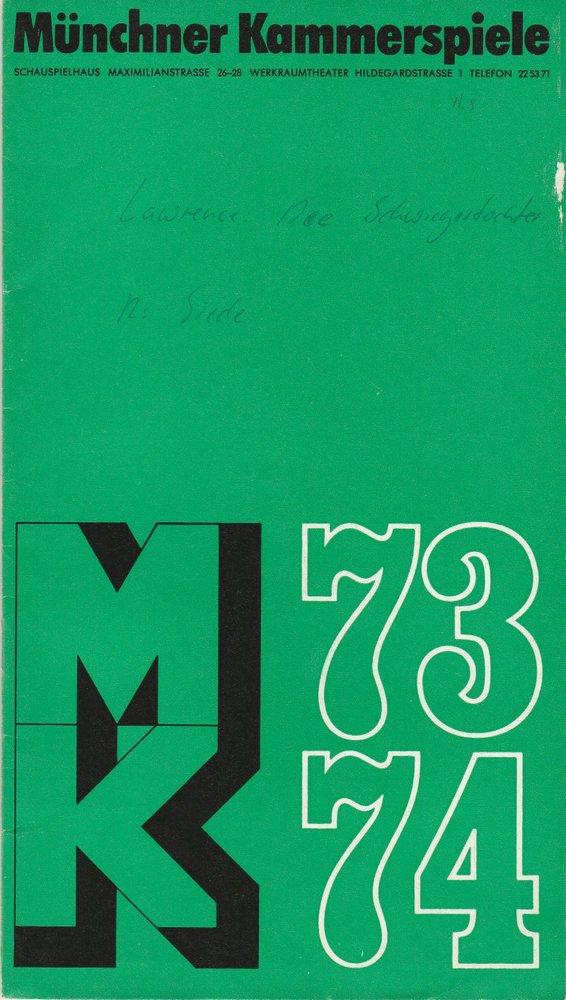 Programmheft D. H. Lawrence: DIE SCHWIEGERTOCHTER Münchner Kammerspiele 1974