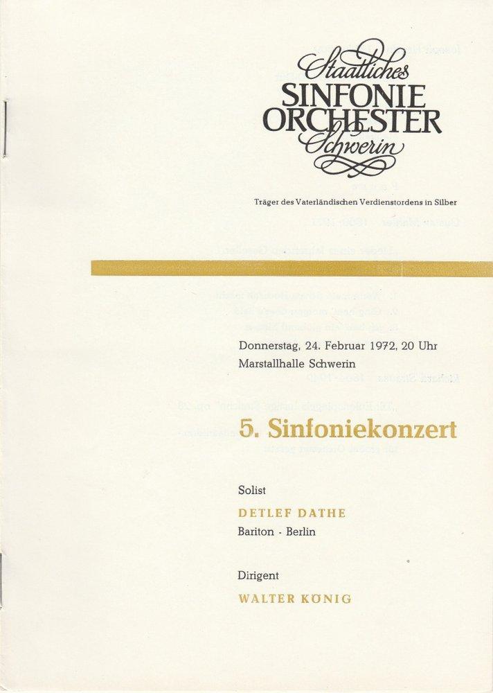 Programmheft 5. Sinfoniekonzert 24. Februar 1972 Marstallhalle Schwerin