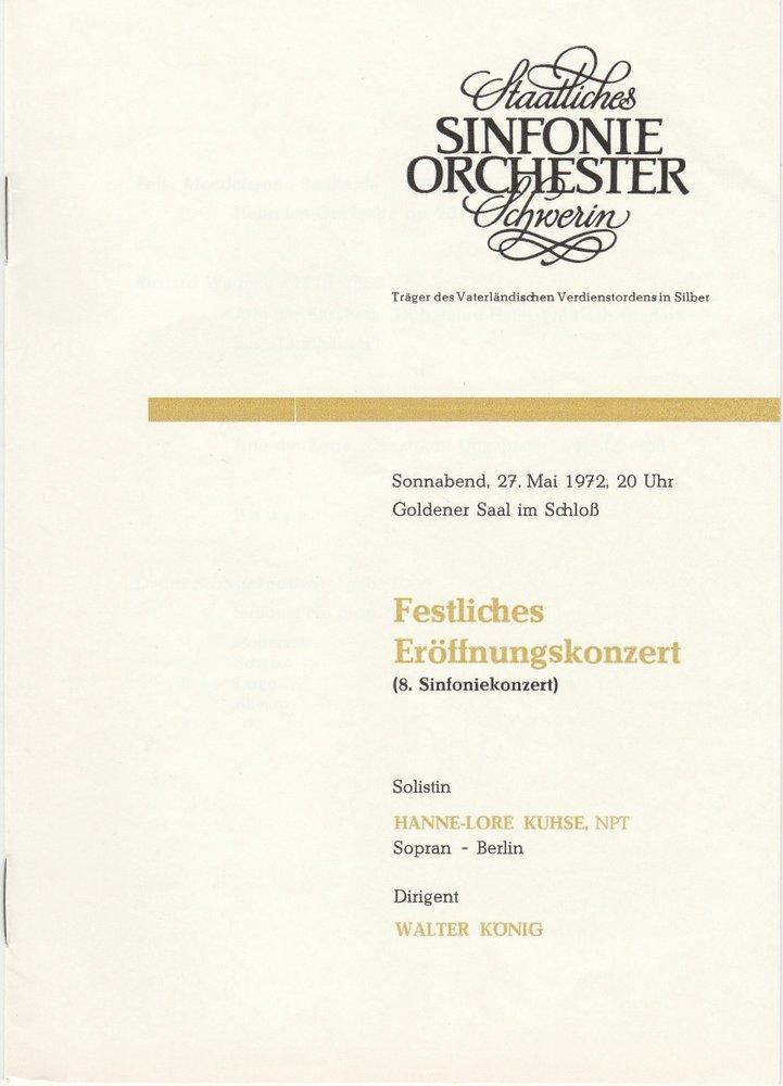 Programmheft Festliches Eröffnungskonzert 27. Mai 1972 Goldener Saal im Schloß
