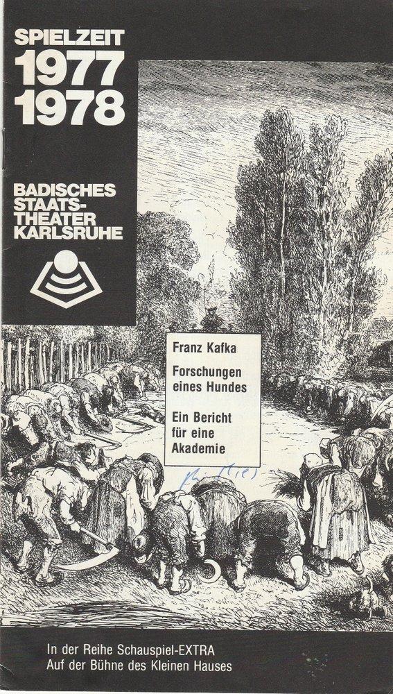 Programmheft Kafka: Forschungen eines Hundes. Ein Bericht für eine Akademie