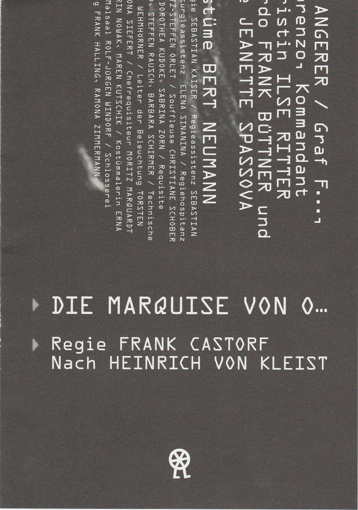 Programmheft DIE MARQUISE VON O Volksbühne am Rosa-Luxemburg-Platz 2012