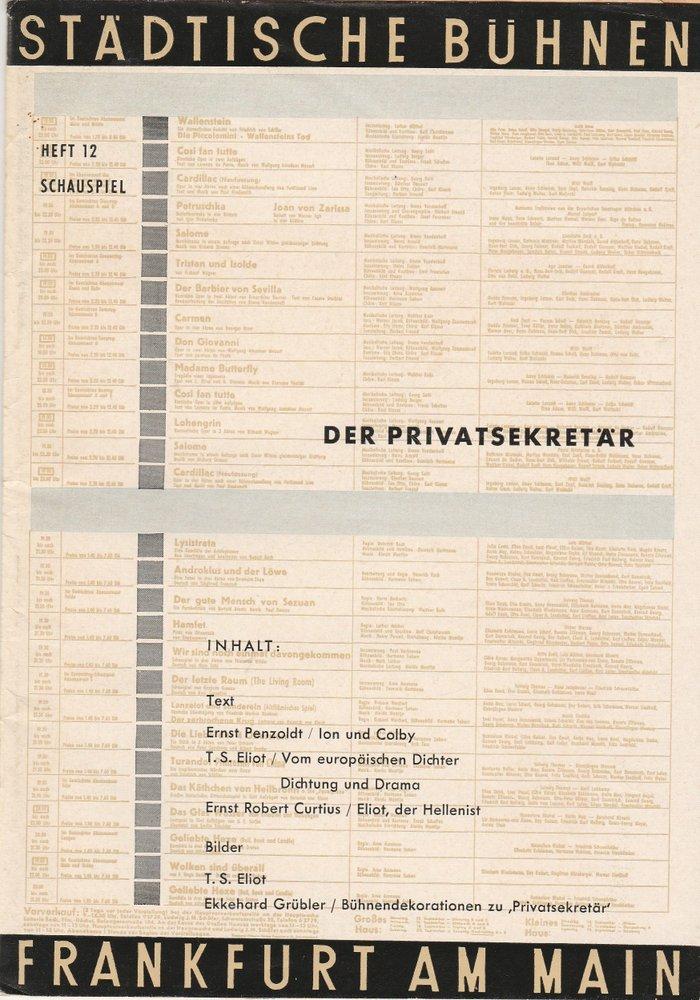 Programmheft DER PRIVATSEKRETÄR. Komödie von T.S. Eliot Frankfurt 1959
