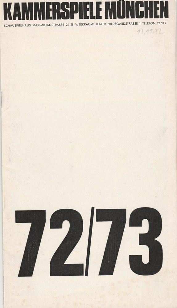 Programmheft Gerhart Hauptmann: DIE RATTEN Münchner Kammerspiele 1972