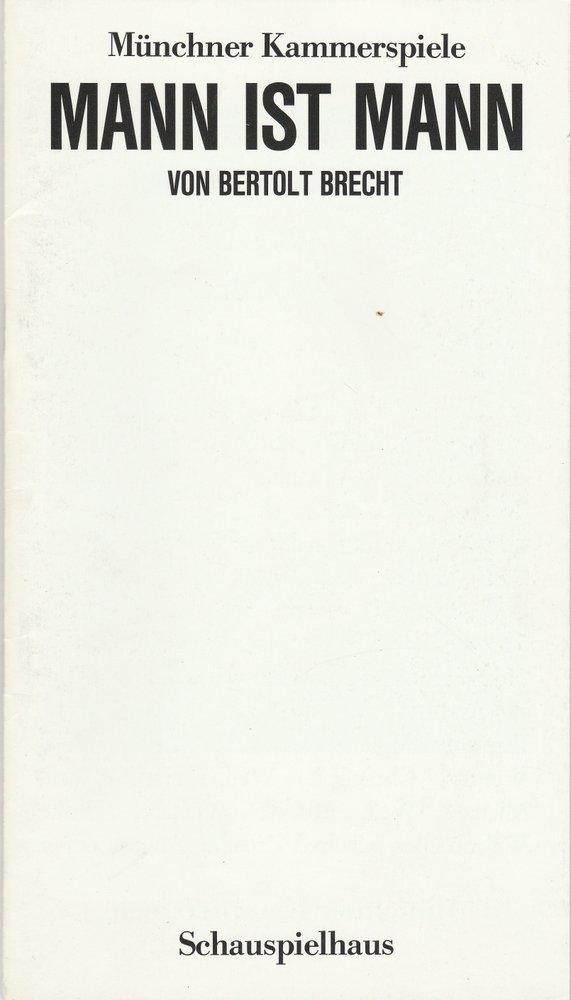 Programmheft Bertolt Brecht: Mann ist Mann Münchner Kammerspiele 1987