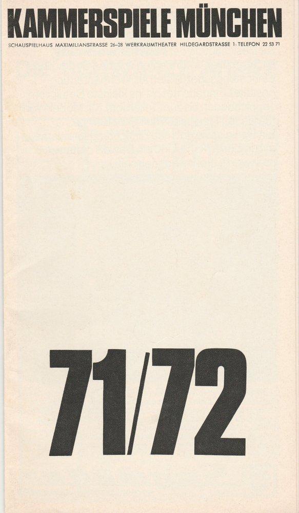 Programmheft SLADEK oder DIE SCHWARZE ARMEE Münchner Kammerspiele 1972