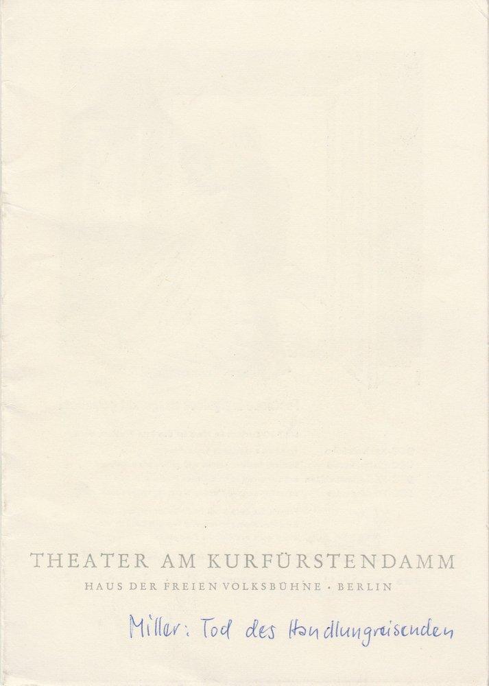 Programmheft DER TOD DES HANDLUNGSREISENDEN Theater am Kurfürstendamm 1961