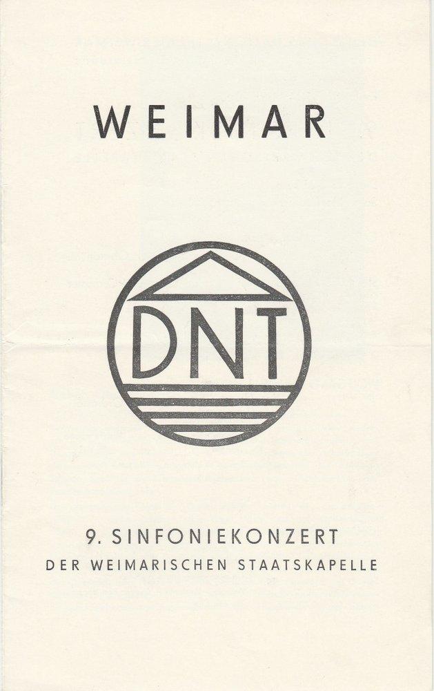 Programmheft 9. SINFONIEKONZERT der Weimarischen Staatskapelle 7. Mai 1971