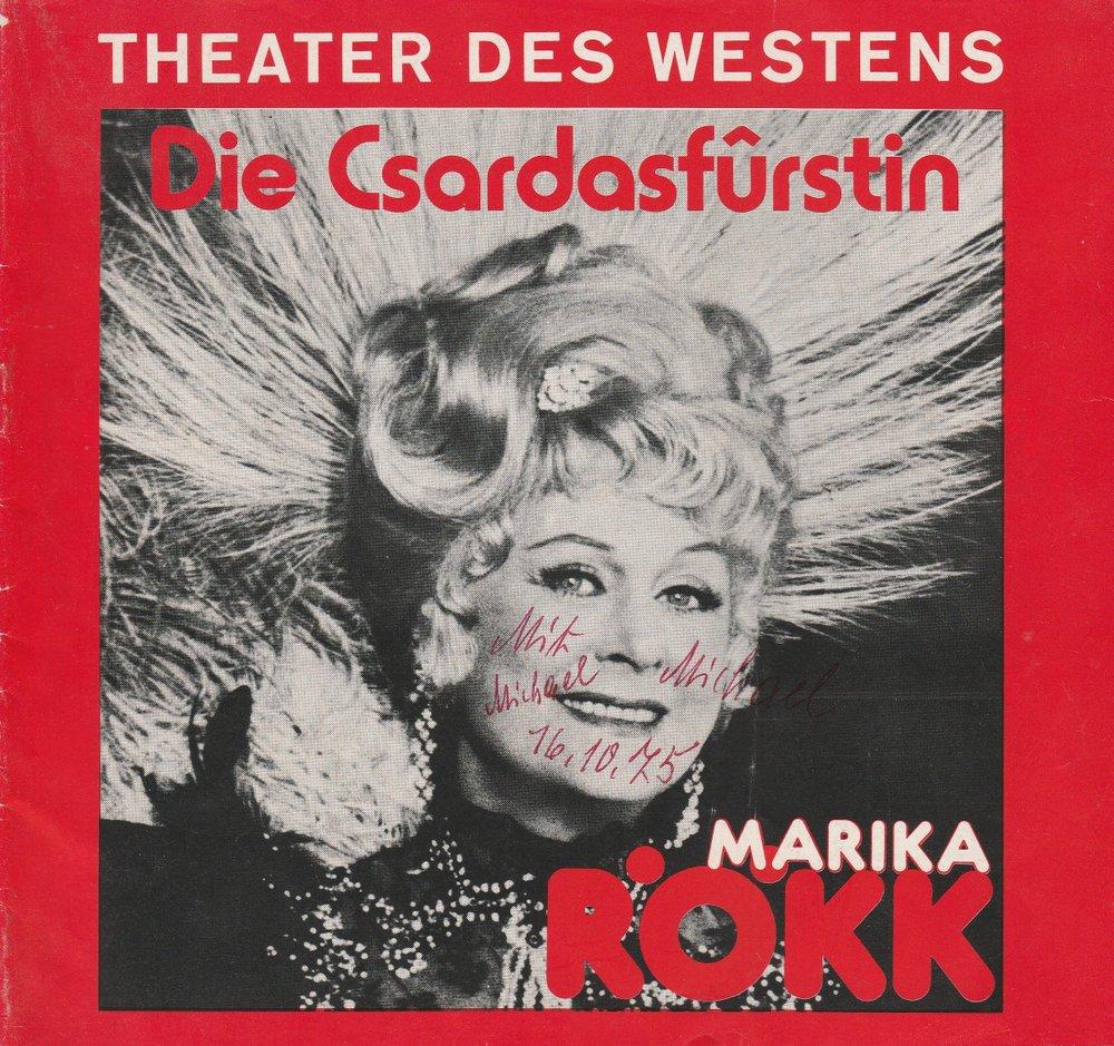 Programmheft Emmerich Kalman: DIE CSARDASFÜRSTIN Theater des Westens 1974