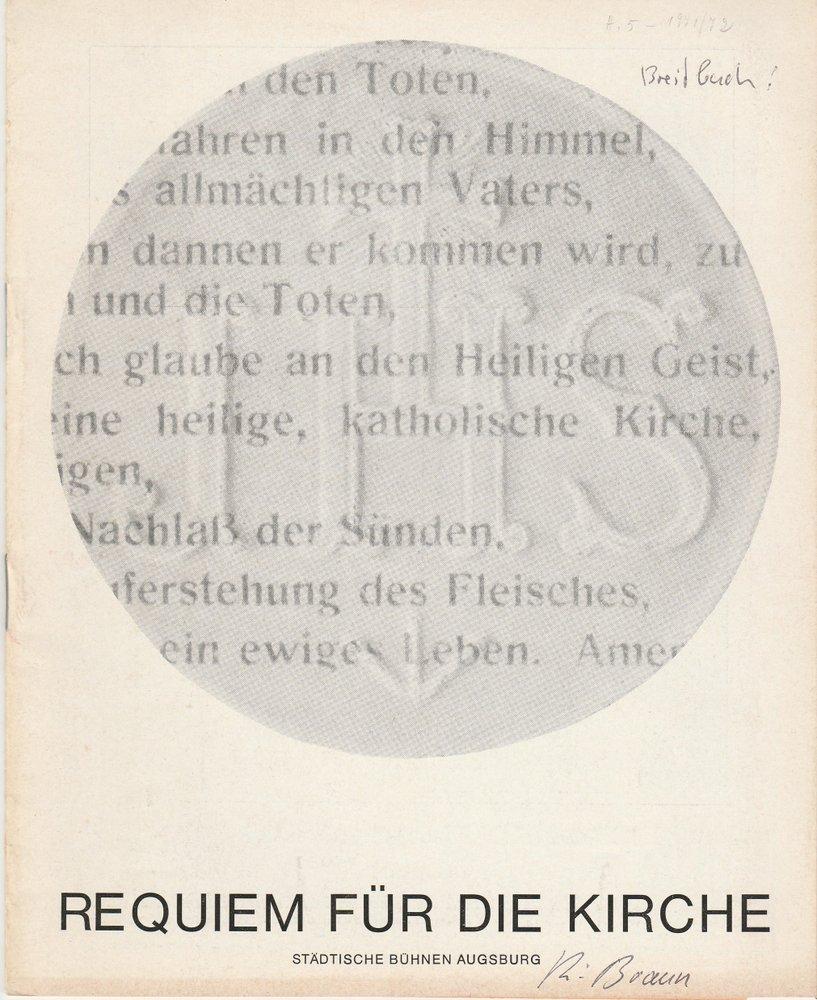 Programmheft Uraufführung Joseph Breitbach: REQUIEM FÜR DIE KIRCHE 1971