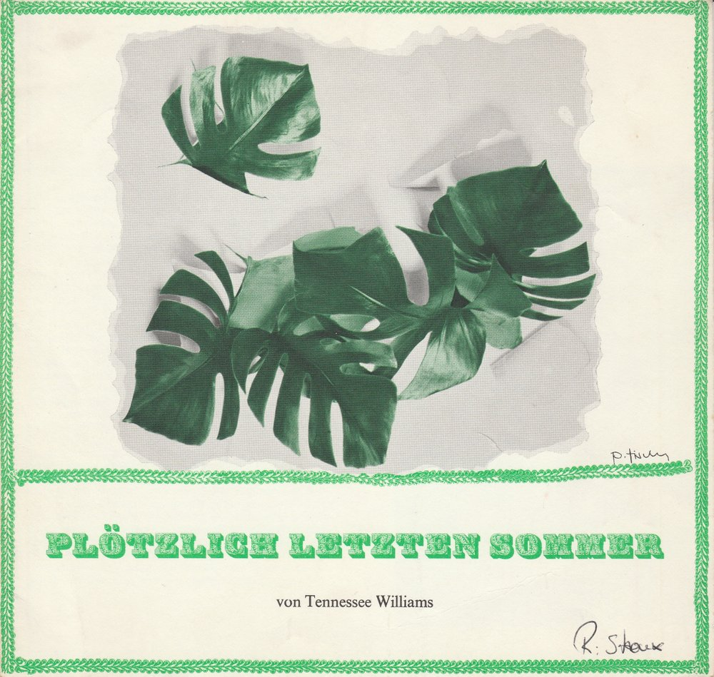 Programmheft PLÖTZLICH LETZTEN SOMMER Tennessee Williams Bühne 64 1972