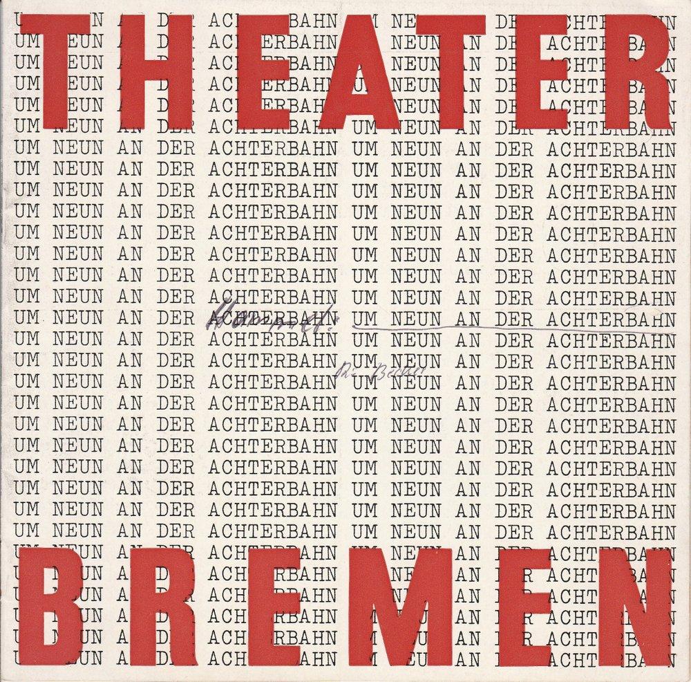 Programmheft UM NEUN AN DER ACHTERBAHN Claus Hammel Bremen 1966