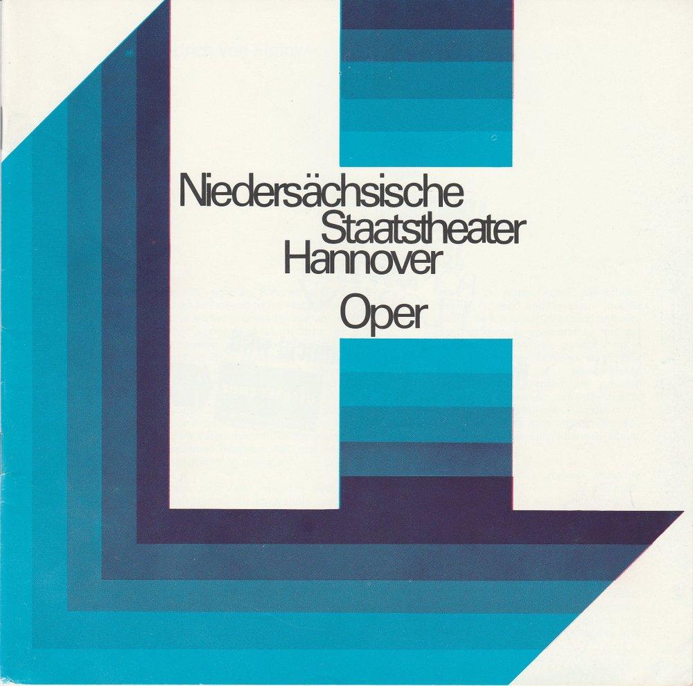 Programmheft MARTHA von Friedrich von Flotow Oper Hannover 1972