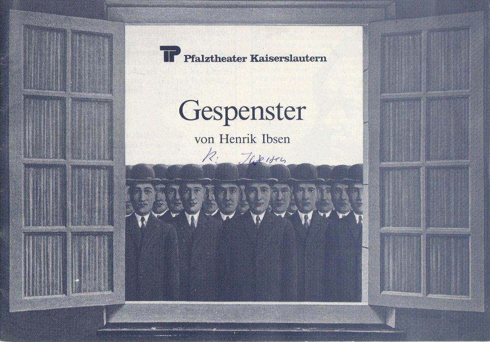 Programmheft GESPENSTER Henrik Ibsen Pfalztheater Kaiserslautern 1980