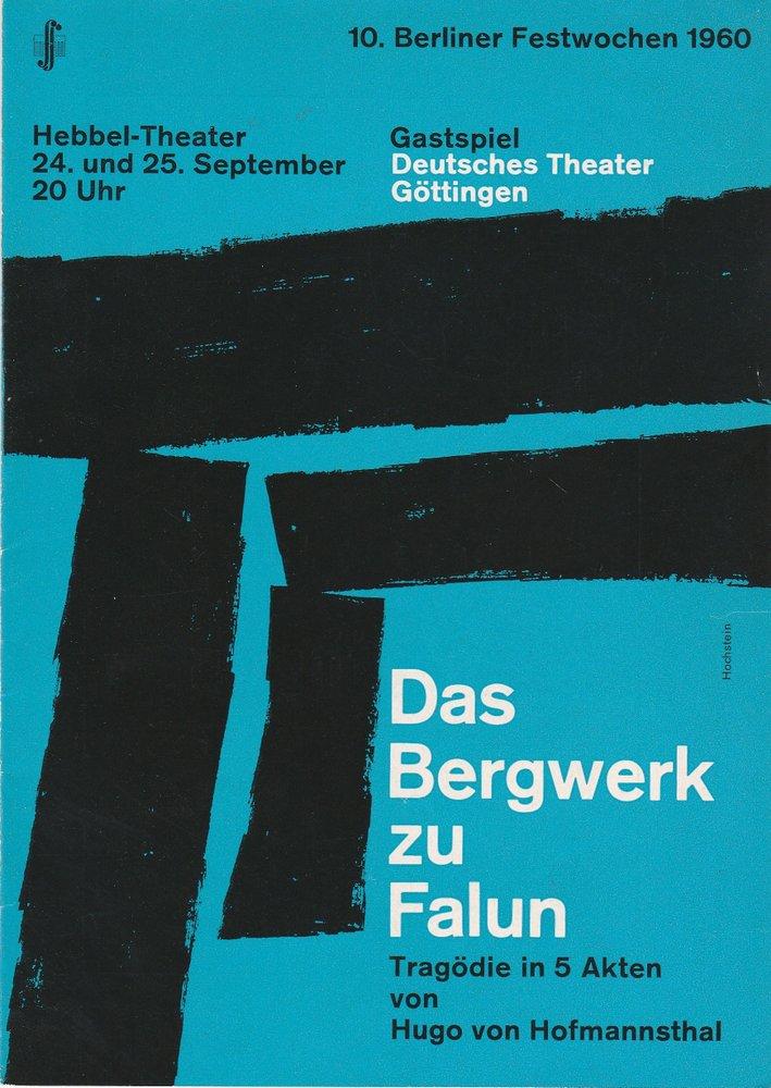 Programmheft DAS BERGWERK zu FALUN Berliner Festwochen 1960