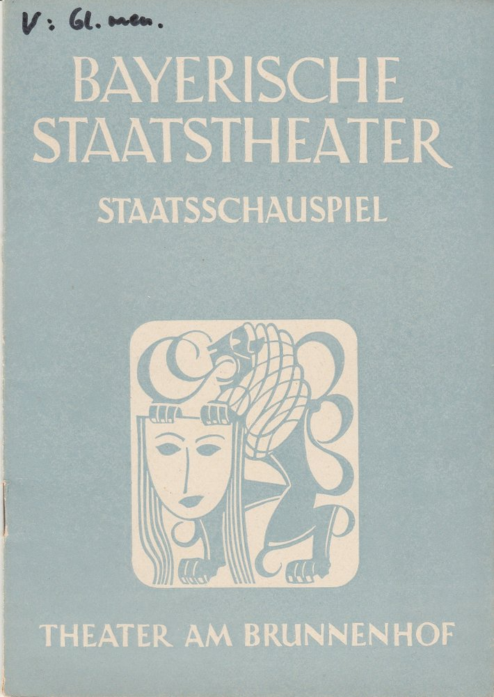 Programmheft DIE GLASMENAGERIE von Tennessee Williams Theater am Brunnenhof 1949