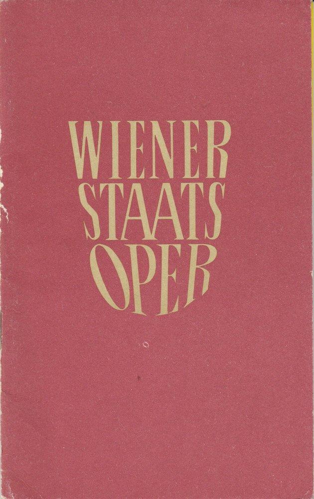 Programmheft der Wiener Staatsoper November 1964, 1. Hälfte