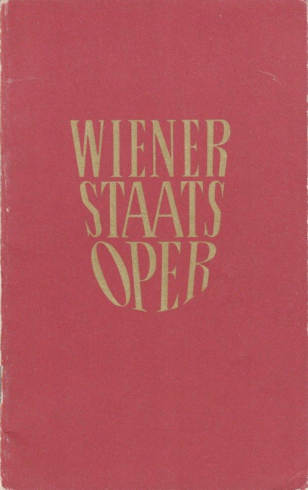 Programmheft der Wiener Staatsoper Jänner 1965, 1. Hälfte