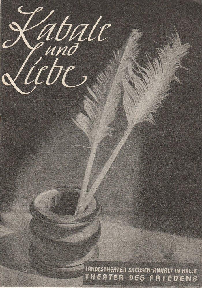 Programmheft Friedrich Schiller: KABALE UND LIEBE Landestheater Halle 1955