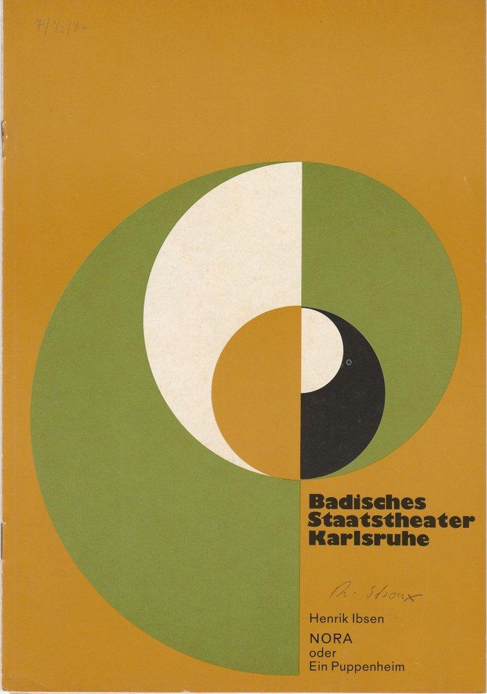 Programmheft NORA oder Ein Puppenheim Ibsen Karlsruhe 1974