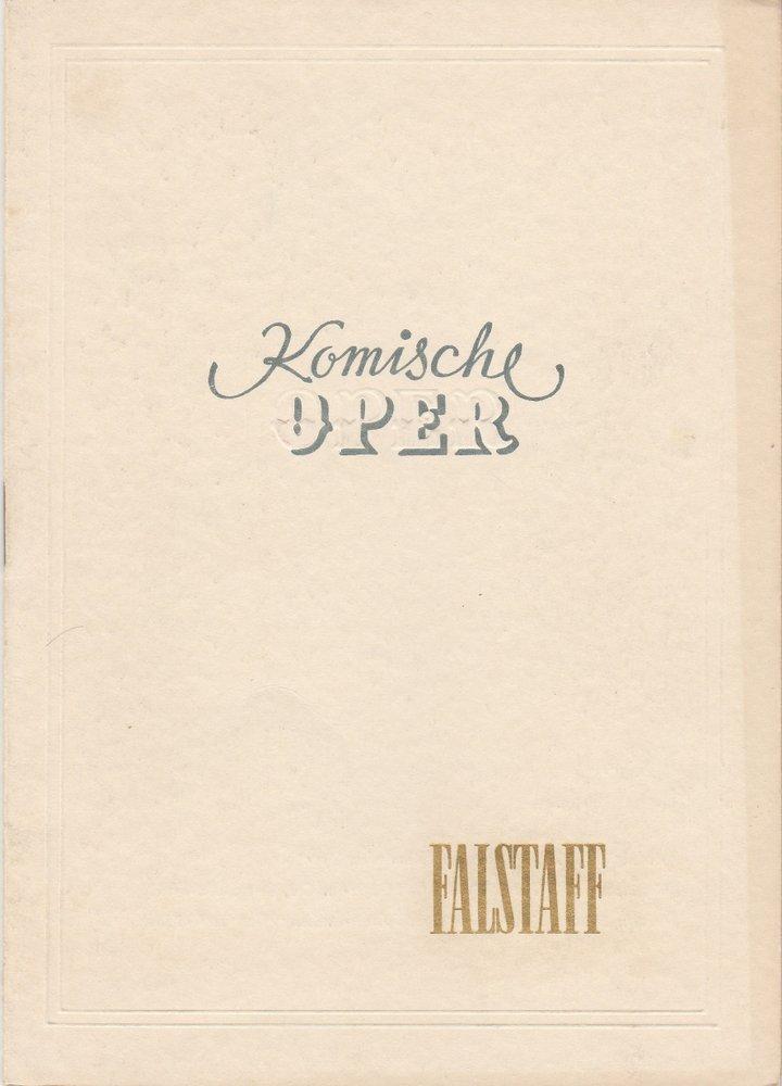 Programmheft Guiseppe Verdi: FALSTAFF Komische Oper Berlin 1954