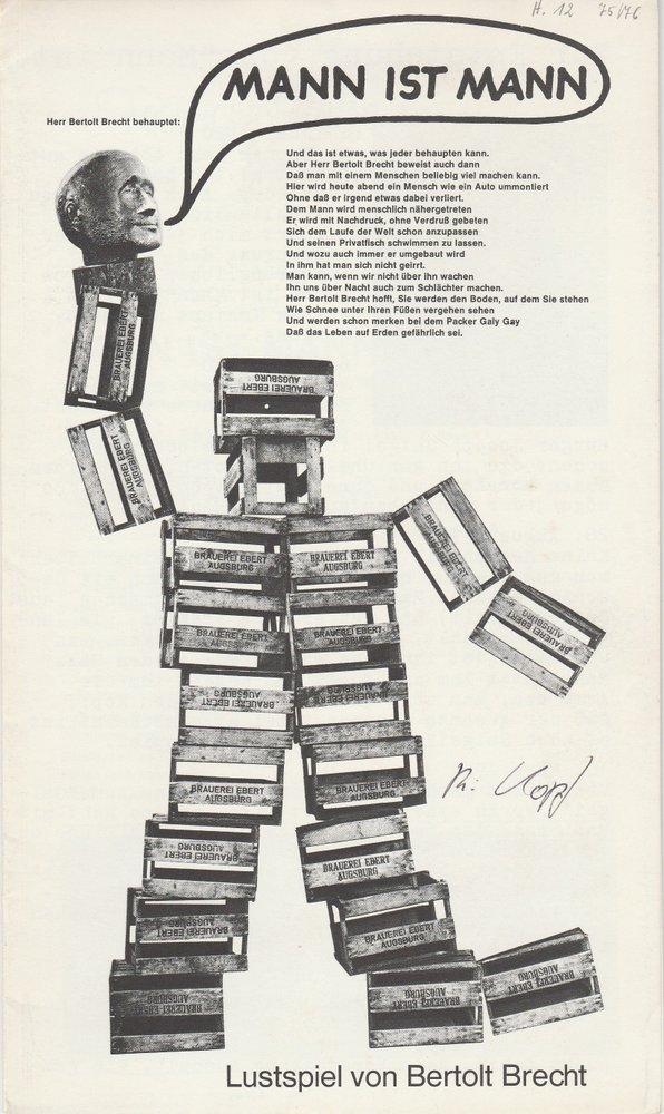 Programmheft Bertolt Brecht: MANN IST MANN Augsburg 1976