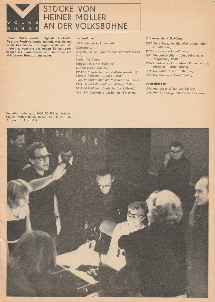Programmheft Stücke von Heiner Müller an der Volksbühne - Die Schlacht