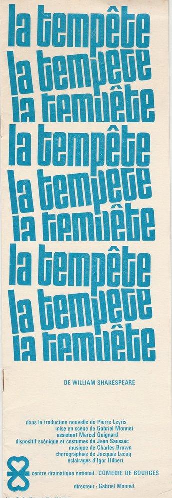 Programmheft LA TEMPETE de William Shakespeare Comedie de Bourges 1966