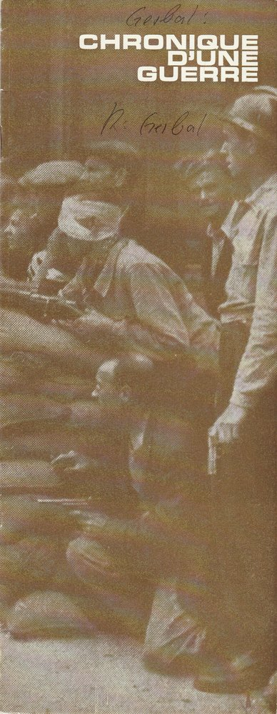 Programmheft CHRONIQUE D'UNE GUERRE de Raymond Gerbal le franc-theatre 1962