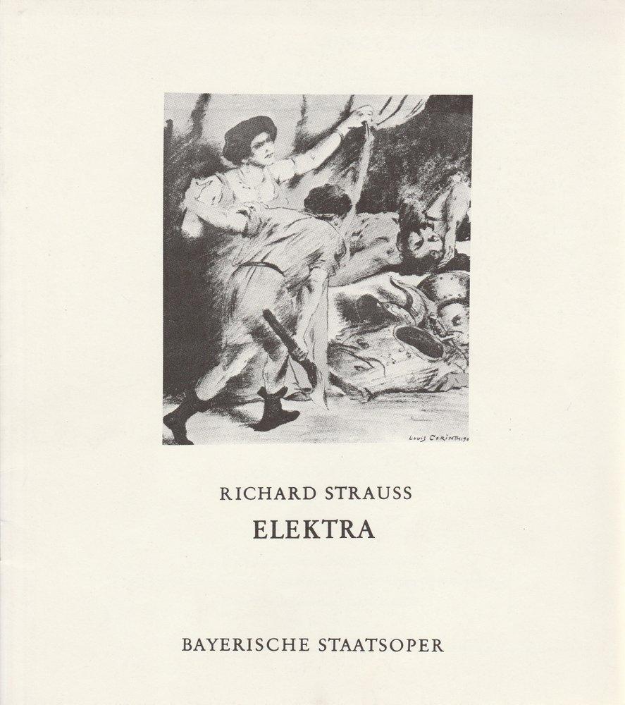 Programmheft Richard Strauss ELEKTRA Bayerische Staatsoper 1972