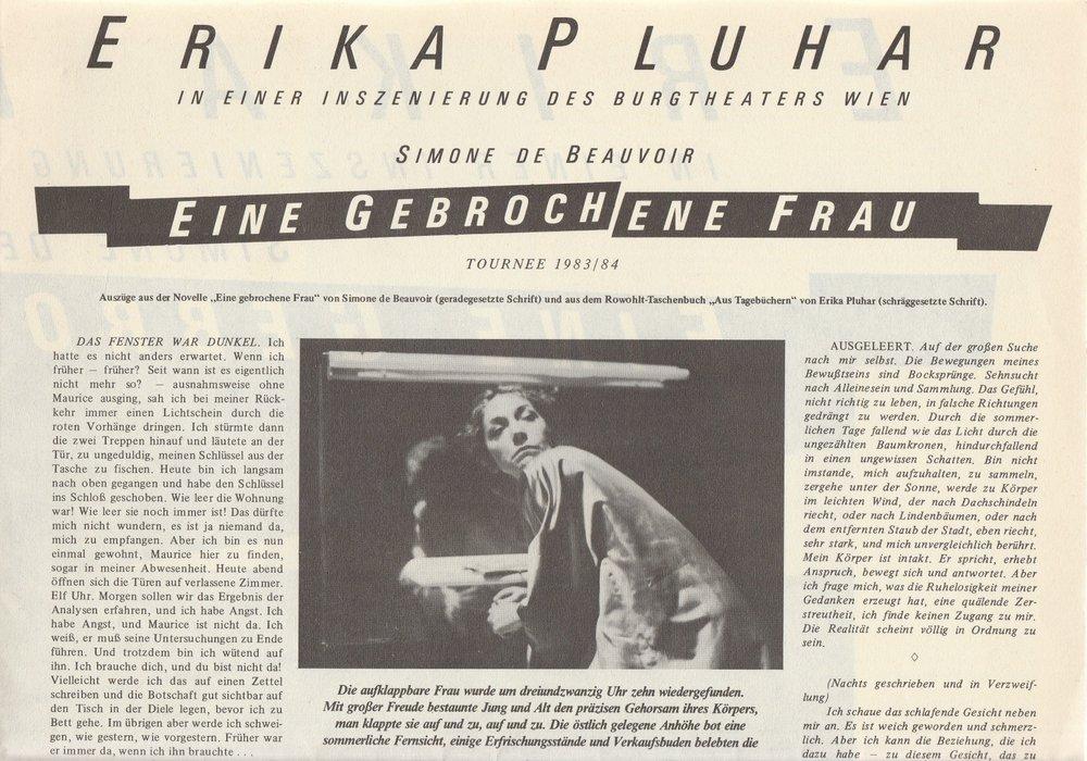 Programmheft ERIKA PLUHAR EINE GEBROCHENE FRAU Plakat Tournee 1983